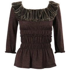 LOUIS VUITTON A/W 2005 Heathered Brown Wool Knit Velvet Detail Ruched Blouse Top
