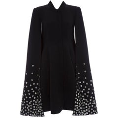 Gareth Pugh Zip Front Black Dress With Mother of Pearl Cape, Spring 2015