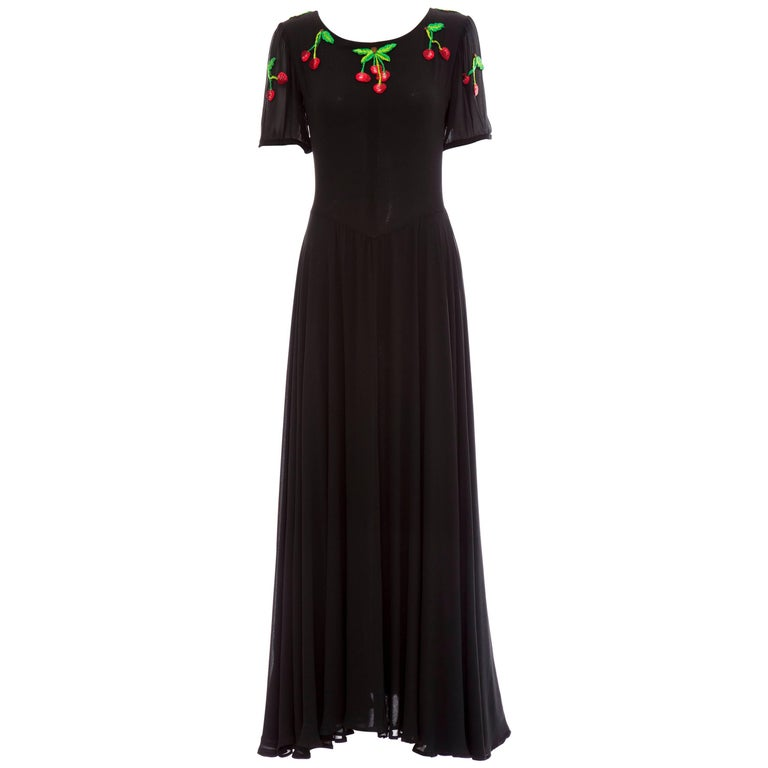 Valentino Black Crepe Evening Dress With Hand Embroidered Cherries, Circa 1970's For Sale
