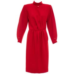 Nina Ricci Haute Couture Red Wool Crepe Dress, Circa 1980's