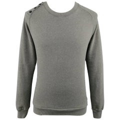 PIERRE BALMAIN Size XXS Olive Grey Distressed Cotton Blend Pullover Sweatshirt