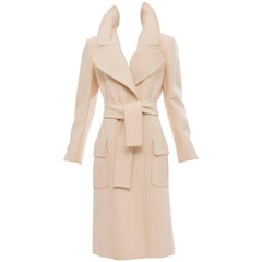 John Anthony Cream Wool Gabardine Coat, Circa 1980's