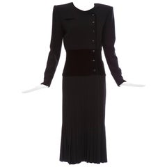 Valentino Black Wool Crepe And Velvet Evening Dress, Circa 1980's