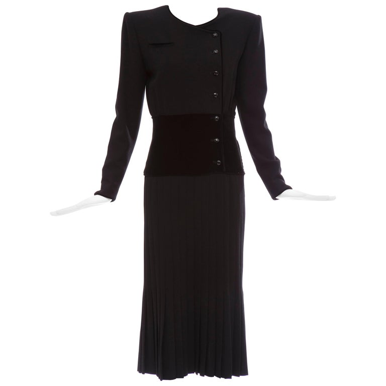Valentino Black Wool Crepe And Velvet Evening Dress, Circa 1980's For Sale