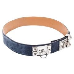HERMES 'Collier de Chien' Belt in Blue Velvet Calfskin Size 90