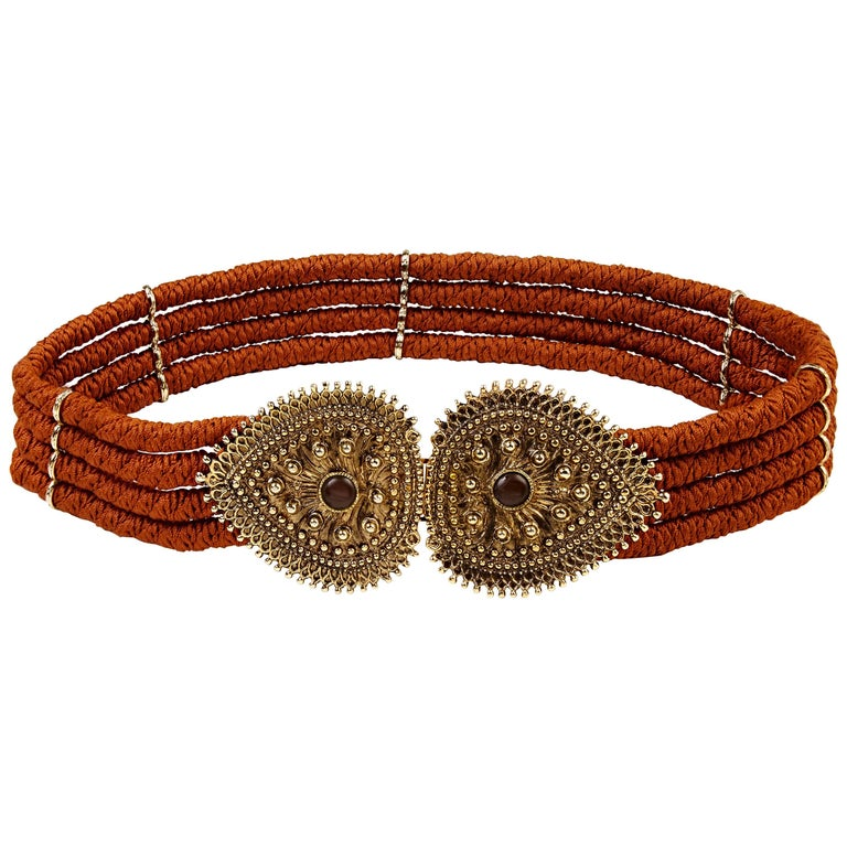 Yves Saint Laurent 1980s Rope belt with Bronze Metallic Clasp and Cabochons