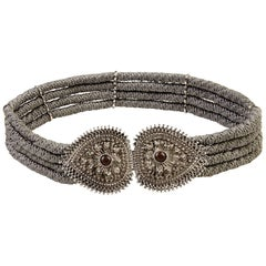 Yves Saint Laurent 1980s Rope Belt with Silver Metallic Clasp and Cabochons