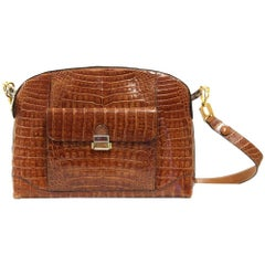 1980s Caramel Crocodile Leather Shoulder Bag