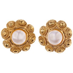 Chanel Gold Gilt Flower Earrings with Faux Pearl Detail