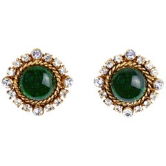 Chanel 1993 Gripoix Earrings with Green Glass Cabochon and Rhinestones