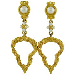 Karl Lagerfeld Vintage Gold Toned Heart and Pearl Dangling Earrings