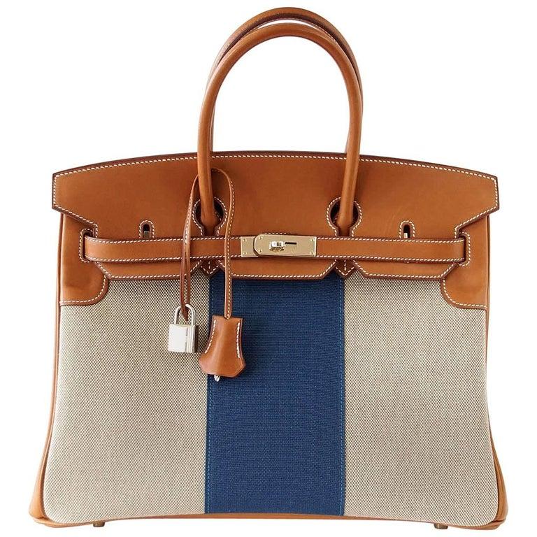Hermes Birkin 35 Bag Rare Flag Bag Barenia  Leather Toile Blue Accent Permabrass