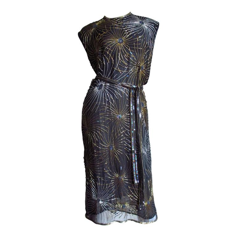 Vintage Halston Bare Side Top Firework Beaded Silk Dress at 1stdibs