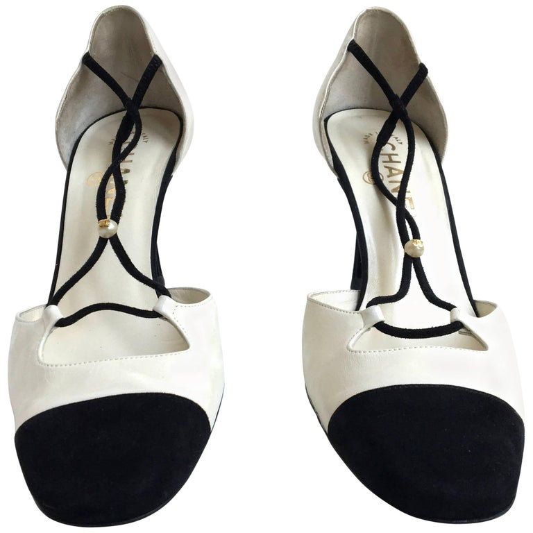 Chanel Shoes - Size 38 - Magnificent Black Suede with Creamy White Leather