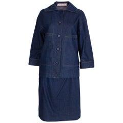 Christian Dior Vintage Denim Skirt Suit