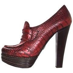 Prada Red Embossed Crocodile Platform Loafers Sz 38.5