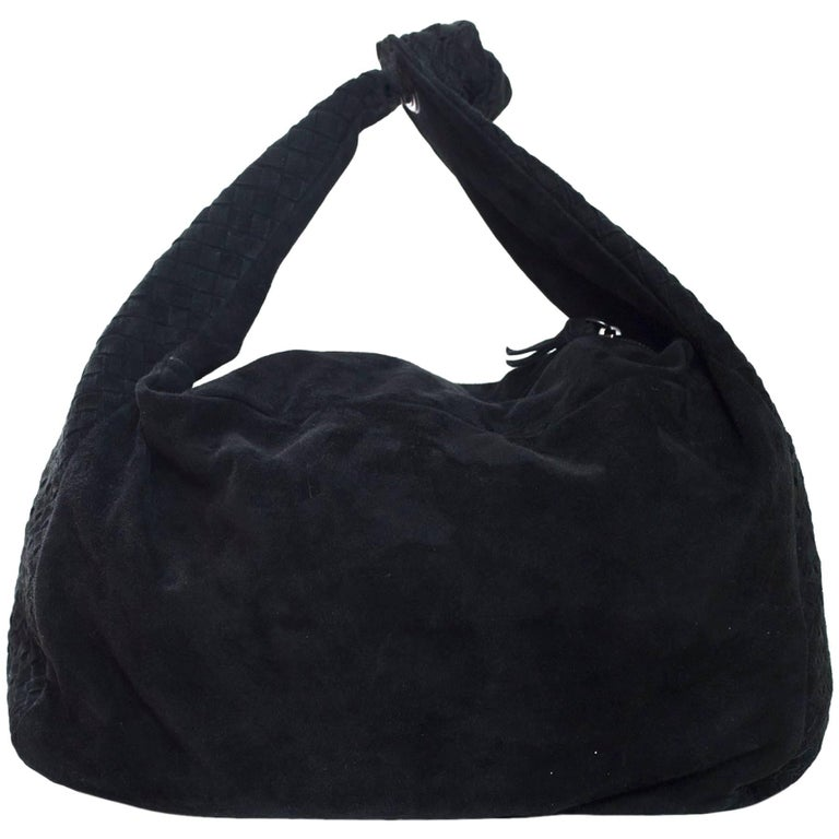 a08072c72b20 Bottega Veneta Black Suede Intrecciato Knot Hobo with DB For Sale at ...