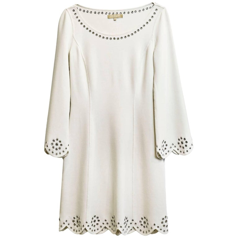 Michael Kors White Longsleeve Grommet Dress Sz 2