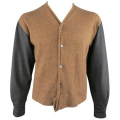 Men's COMME des GARCONS Size L Brown & Charcoal Knit Cardigan Sleeve Shirt