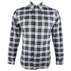 Men's GIVENCHY Size M Blue & Black Plaid Cotton Star Collar Long Sleeve Shirt