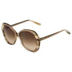 Bottega Veneta BV272S-9RM71-56 Beige Honey Striped Sunglasses