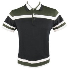 Men's GIVENCHY Size XL Olive Green Black & White Stripe Pique POLO