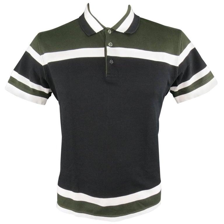 Men's GIVENCHY Size XL Olive Green Black & White Stripe Pique POLO