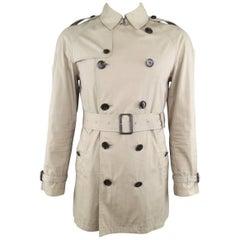 Men's BURBERRY BRIT S Khaki Cotton / Nylon Classic Belted Trenchcoat