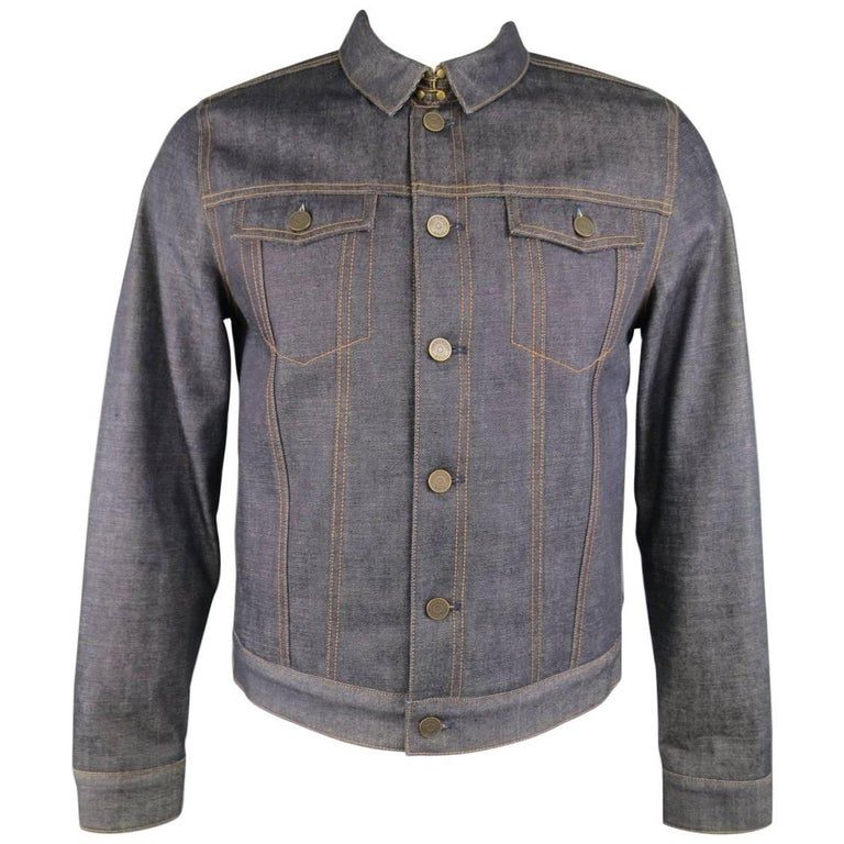Men's BURBERRY BRIT L Indigo Contrast Stitch Selvedge Denim Trucker Jacket 1