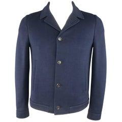 Men's PRINGLE M Navy Textured Cotton Blend Button Up Jacket