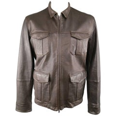 Men's BRUNELLO CUCINELLI Jacket XL Brown Leather Coat - Retail: $6340