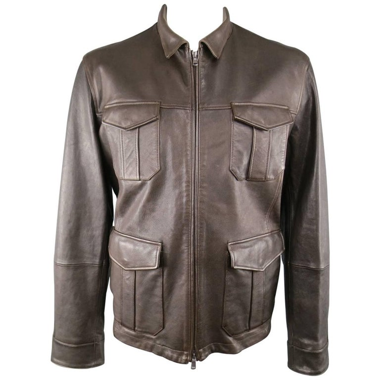 Brunello Cucinelli Jacket Men S Jacket Brown Leather Coat For Sale