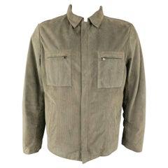 Men's LUCIANO BARBERA 44 Moss Green Corduroy Textured Suede Jacket