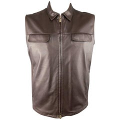 New Men's LORO PIANA XL Chocolate Brown Leather Knit Panel Collared Vest