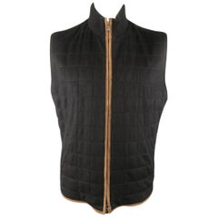 Men's LORO PIANA XL Black Quilted Cashmere Tan Suede Piping Vest