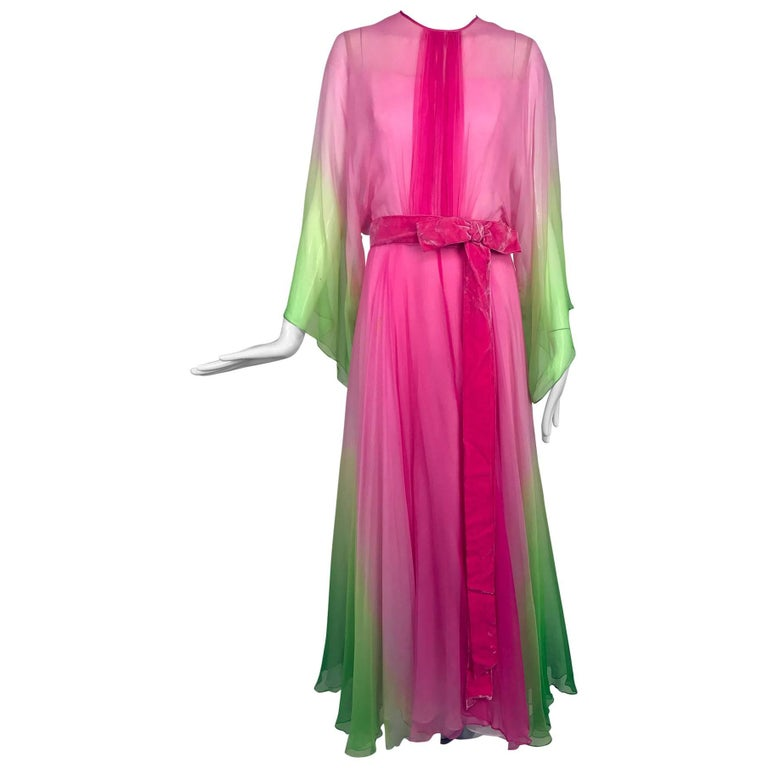 Vintage pink and green ombred silk chiffon kimono sleeve maxi dress 1970s For Sale