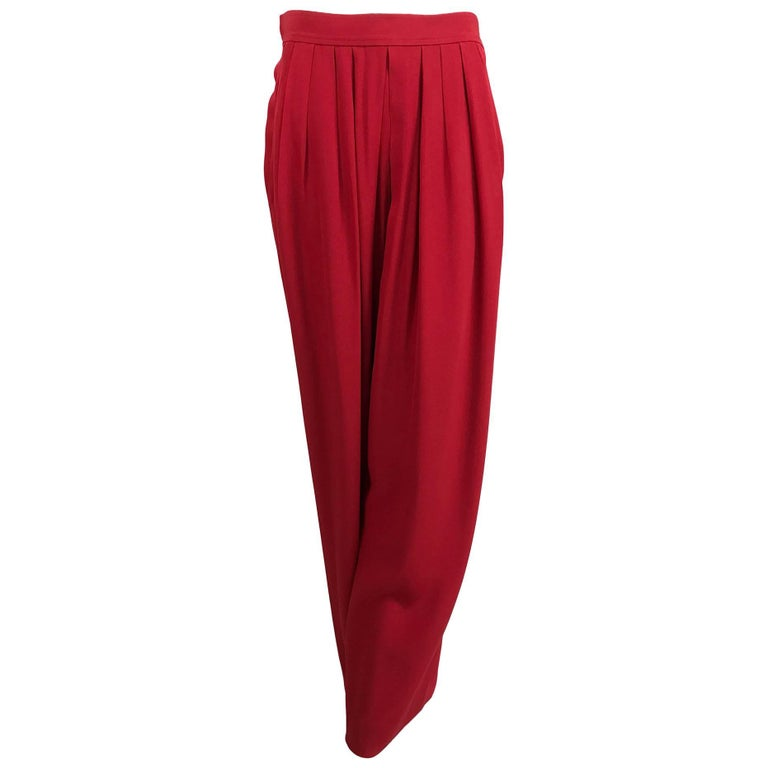 Vintage Yves Saint Laurent candy red satin back crepe full leg trousers 1990s