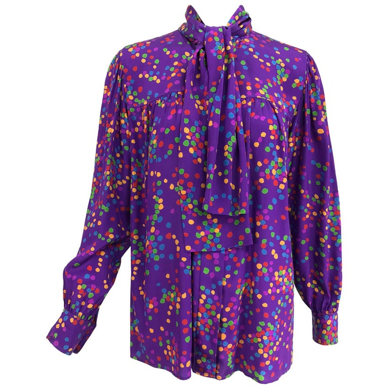 Vintage Yves Saint Laurent purple and coloured dots silk bow tie blouse 1970s