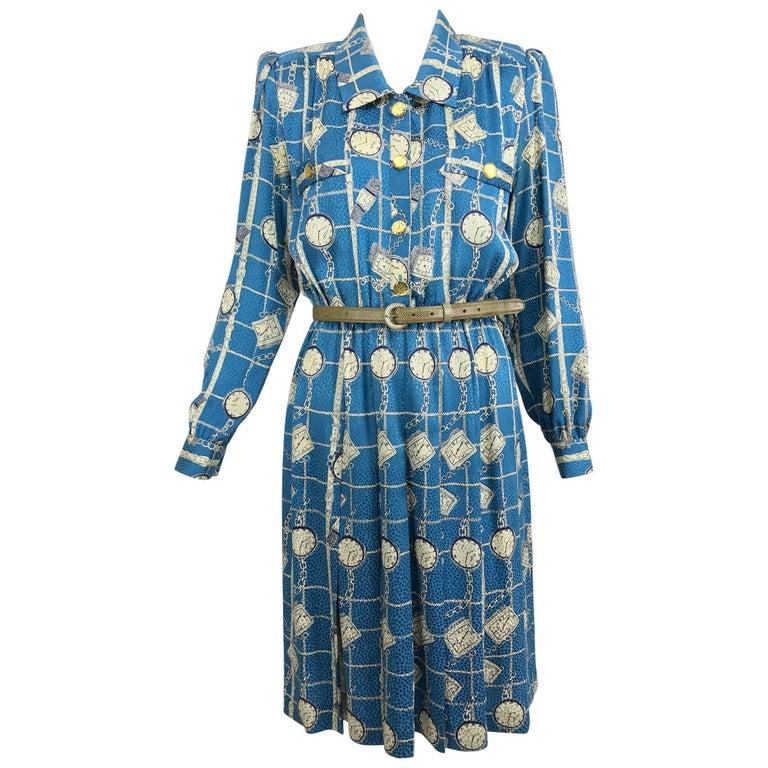 Vintage Adolfo clocks and watches print pleated shirtwaist dress 1970s