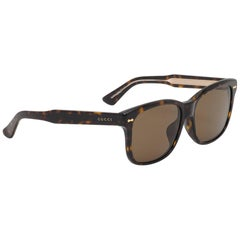 Gucci GG1140FS-KCLSP-57 Dark Havana / Brown Sunglasses