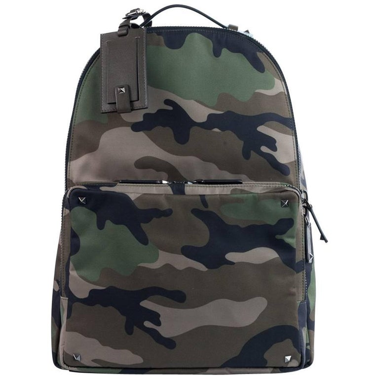19f6d7172c37 Valentino Brown Rockstud Camouflage Nylon Backpack at 1stdibs