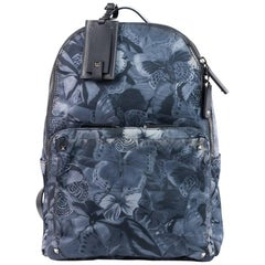Valentino Gray Butterfly Printed Nylon Backpack