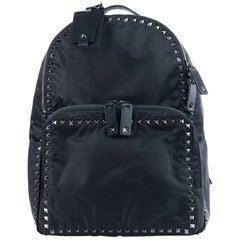 Valentino Solid Black Rockstud Nylon Backpack