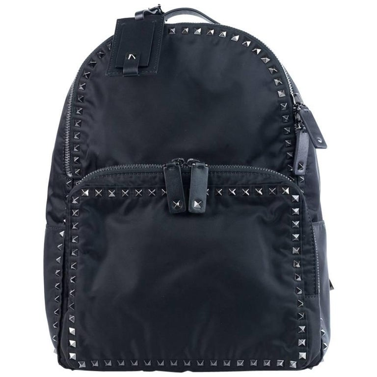Valentino Solid Black Rockstud Nylon Backpack For Sale At