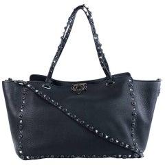 Valentino Women's Noir Medium Rockstud Rolling Leather Tote Bag