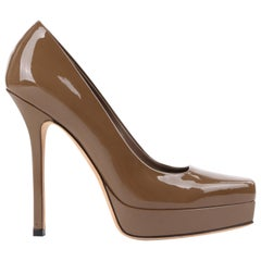 "GUCCI ""Tile"" Saddle Brown Patent Leather Square Toe Platform Pumps Heels"