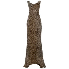 Dolce & Gabbana Leopard Print Statement Evening Gown with Train and Sash