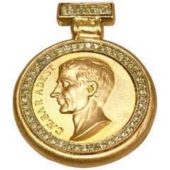 "Ben-Amun Gold and Swarovski Crystal ""Caesar"" Roman Coin Necklace Pendant, 1980s"