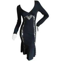 D&G Dolce & Gabbana Vintage Little Black Dress with Sheer Lace Inserts