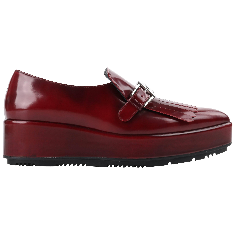 PRADA A/W 2013 Burgundy Red Spazzolato Leather Pointed Toe Platform Oxford Shoe